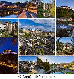 (my, collage, viaje, photos), luxemburgo, imágenes