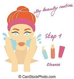 My daily routine. Skin care illustration. Correct order to apply skin care products. Step 1 Cleanse.