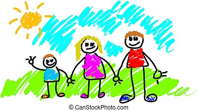 My Family - kiddie style painting of a family