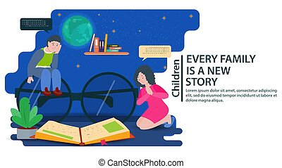 My father is sitting on big glasses my mother is on her lap looking at a book a concept for banners and websites and postcards vector flat illustration