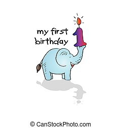 My First Birthday lettering with cute elephant