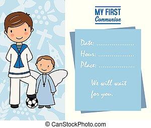 my first communion. Boy with angel