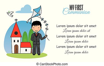 my first communion. Boy with kite