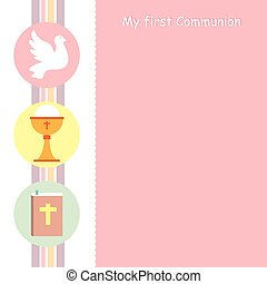 my first communion card. Icons and space for text