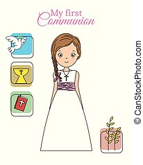 my first communion girl. pretty girl with communion dress ...