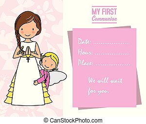 my first communion. Girl with angel