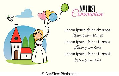 my first communion. Girl with balloons