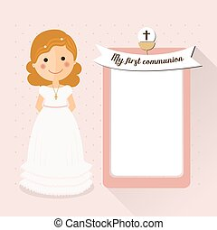 My first communion invitation with curly hair girl and message