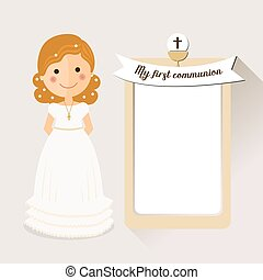 My first communion invitation with curly hair girl on ochre background