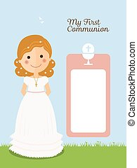 My first communion invitation with message and curly hair girl and blue background