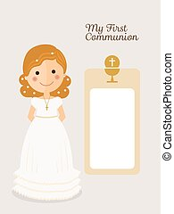 My first communion invitation with message and curly hair girl