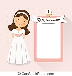 My first communion invitation with message on pink background