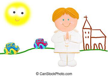 my first communion - child in their first communion Church...