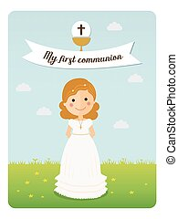 My first communion reminder with curly hair girl and blue sky background