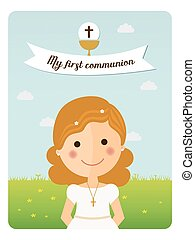 My first communion reminder with foreground girl and blue sky background