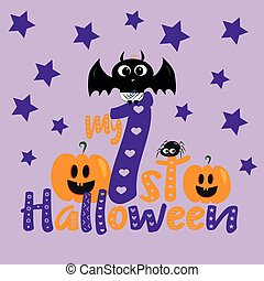 My first halloween- text, with cute baby bat and pumpkins, little spider and stars.