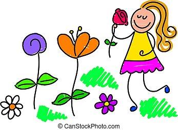 my garden - little girl picking flowers in the garden -...