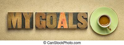 my goals banner in letterpresss wood type