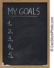 my goals - blank numbered list handwritten with white chalk on blackboard with erase smudges