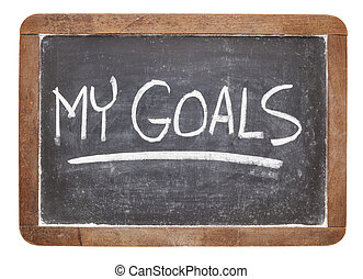 my goals on blackboard - my goals - white chalk handwriting ...