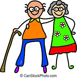 picture of a happy elderly couple drawn from a childs perspective
