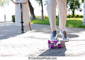 Close up of a violet skate