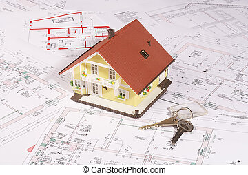 my house and key - modell house on plans