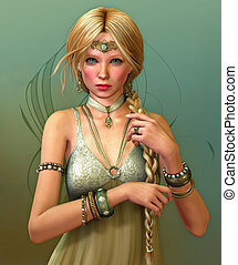 My Jewel - a young woman with  a long braid and jewelries