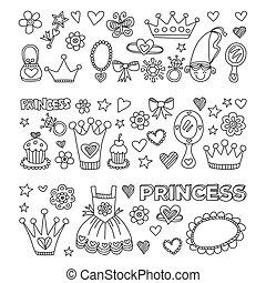 My little princess Hand drawn doodle elements - My little...