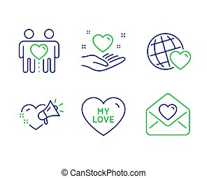 My love, Friends couple and Friends world icons set. Love message, Hold heart signs. Sweet heart, Friendship. Vector