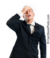 My mistake. - Forgetful young businessman gesturing with...