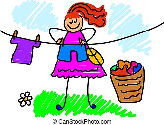 my mum - a busy mother hanging out the washing - drawn from...