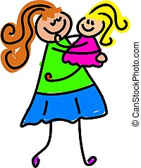 my mum - little girl being picked up by mother - toddler art...