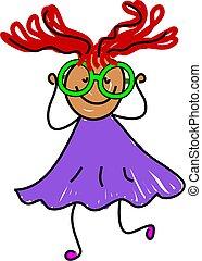 my new spectacles - little ethnic girl wearing eye glasses -...