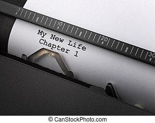 """""""my, nowy, life"""", wiadomość, napisał na maszynie, przez,..."""