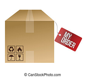 my order shipping box illustration design over a white...