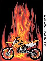 my original motorbike with fire background