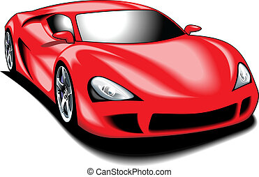 my original sport car (my design) in red color isolated on the white background