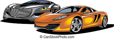 my original sport cars design isolated on the white...