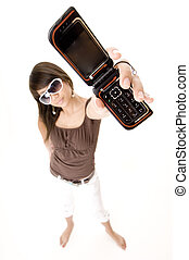 My Phone 2 - A funky girl holds up her phone