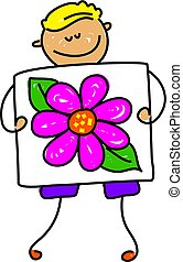 my picture - little boy holding picture of a flower