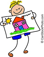 little boy holding up his drawing of a house