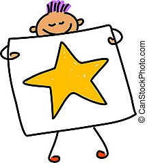 my picture - little boy holding up his drawing of a star -...
