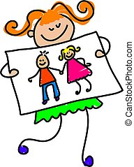 little girl holding up her drawing of her parents - toddler art