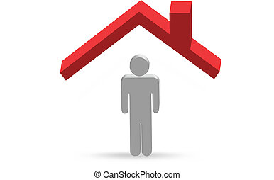 My roof - illustration of 3d character of person under red...