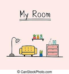 My Room. Doodle Living Room Vector Illustration.