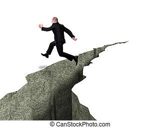 caucasian businessman jump over crevasse