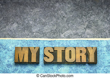 my story concept in wood type