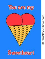 Sweet heart, version with text and blue background, object isolated, illustration, painting, drawing