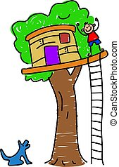 my tree house - little boy waving from his tree house -...